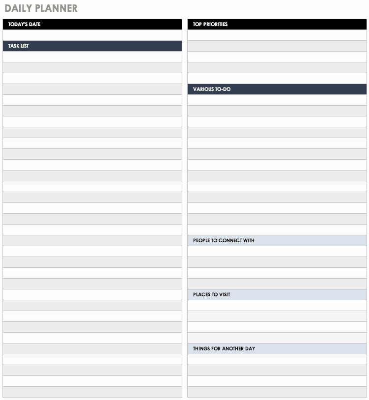 Daily Task List Template Word Lovely Free Daily Schedule Templates for Excel Smartsheet