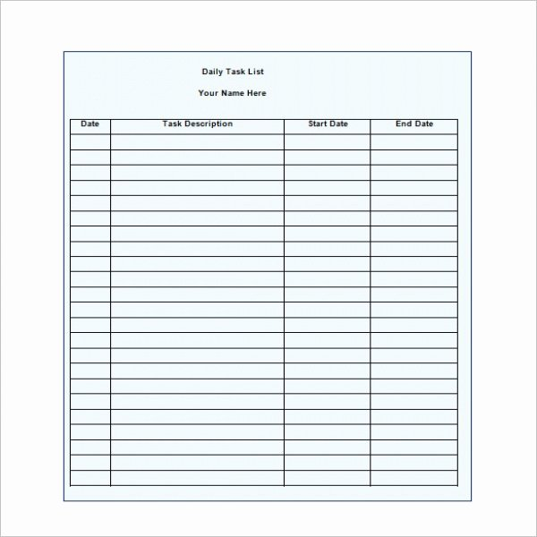 Daily Task List Template Word Unique Daily Task List Template