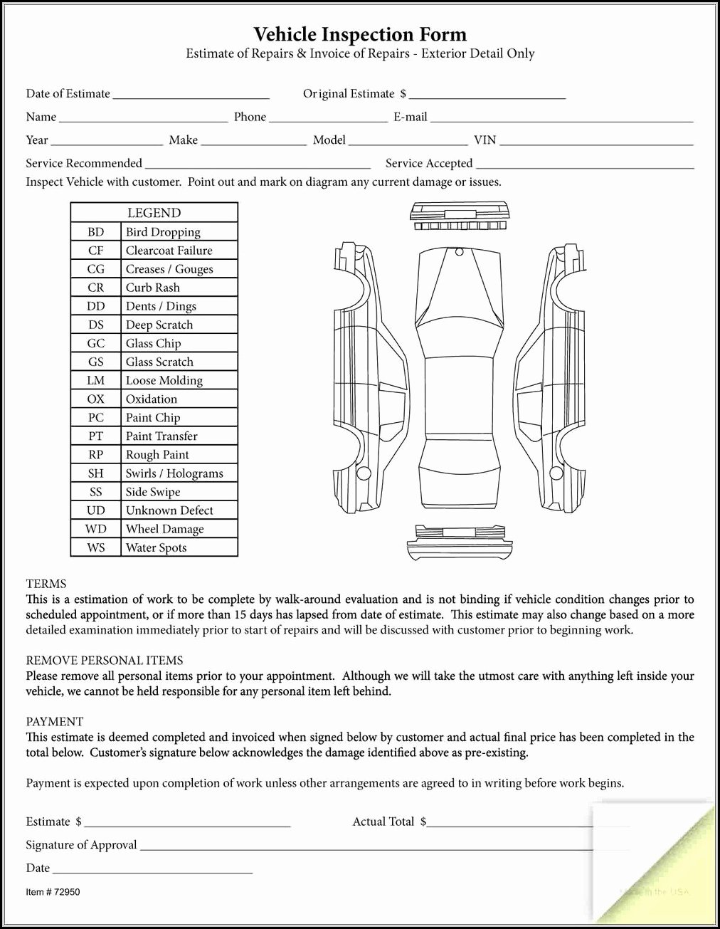 Daily Vehicle Inspection form Template Beautiful Rental Vehicle Inspection form Template form Resume