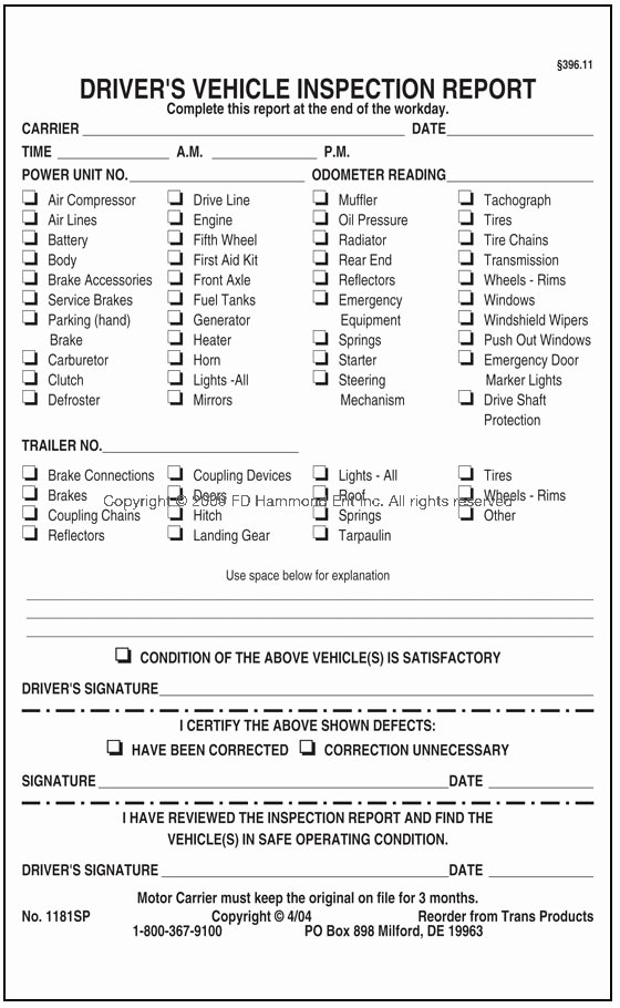 Daily Vehicle Inspection form Template New Fmcsa Implements New Procedures for Auditing the Daily