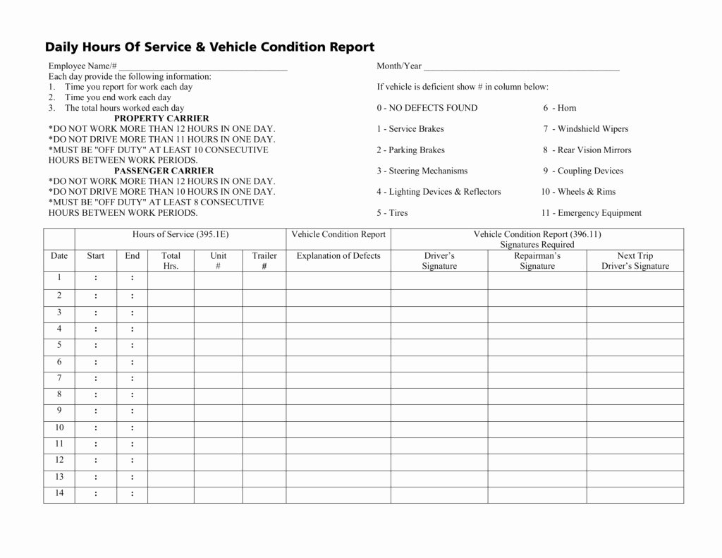 Daily Vehicle Inspection form Template New Hours Service Spreadsheet Google Spreadshee Dot Hours