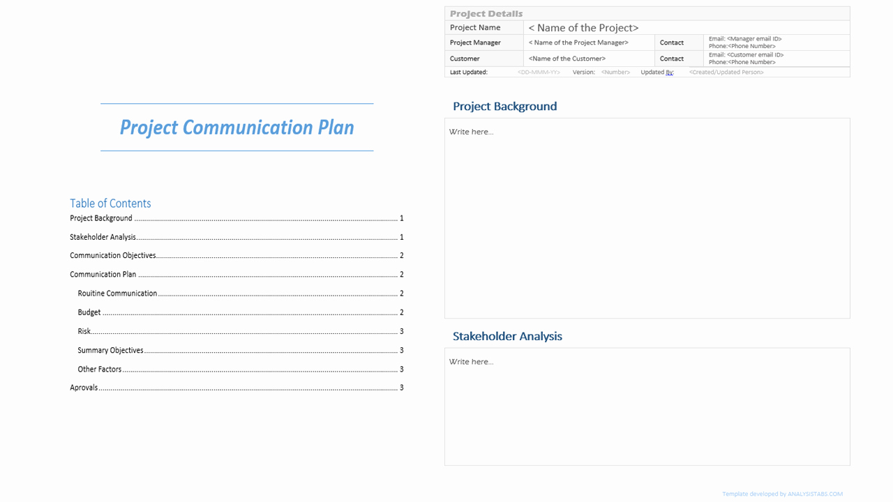 Data Analysis Plan Template Awesome Project Munication Plan Template Analysistabs