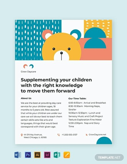 Daycare Flyers Templates Free Luxury 20 Daycare Flyer Templates Word Psd Ai Vector Eps