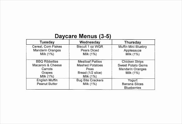 Daycare Monthly Menu Template Awesome 13 Daycare Menu Templates Psd Ai Word
