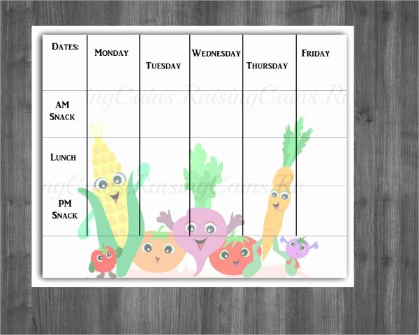Daycare Monthly Menu Template Beautiful 12 Preschool Menu Templates Psd Eps Ai Word