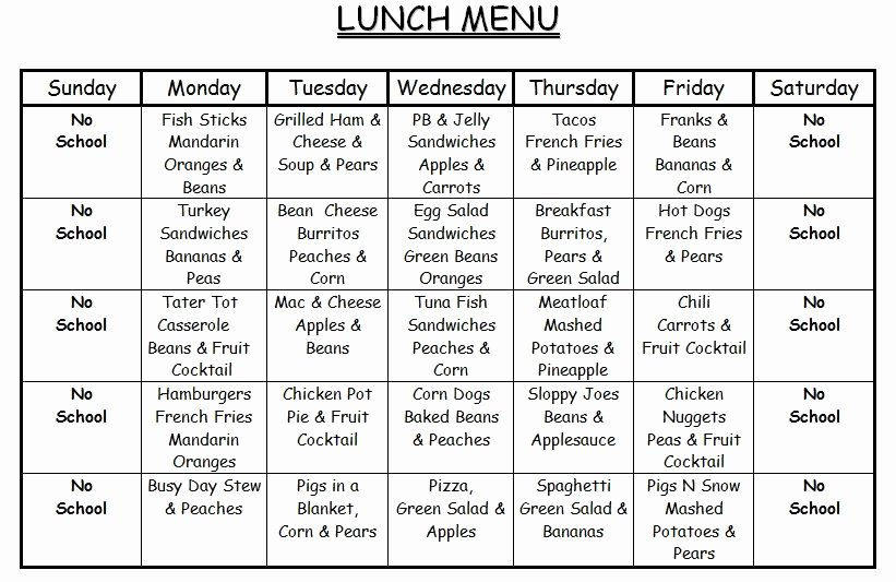 Daycare Monthly Menu Template Beautiful Lunch Menu Lesson Plan Templates