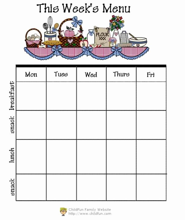 Daycare Monthly Menu Template Beautiful Miscellaneous forms Printable forms