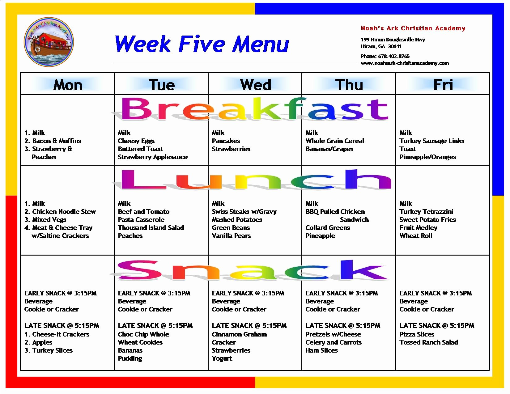Daycare Monthly Menu Template Beautiful Sample School Menus – Noah S Ark Christian Academy
