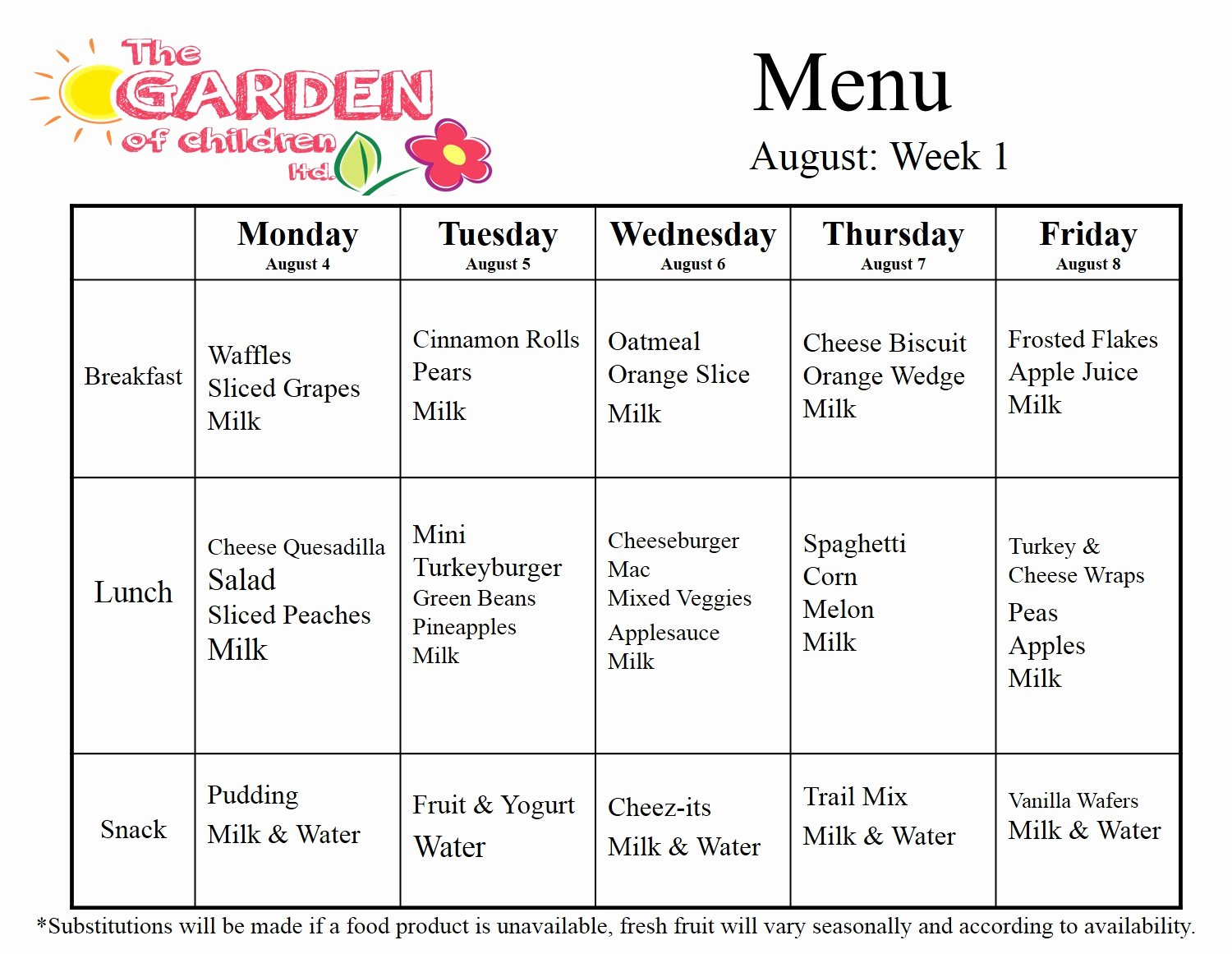 Daycare Monthly Menu Template Elegant Garden Of Children August Daycare Menu