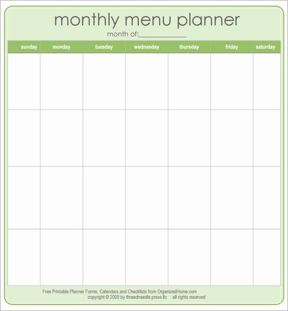 Daycare Monthly Menu Template Fresh Free Printable Blank Menu Templates