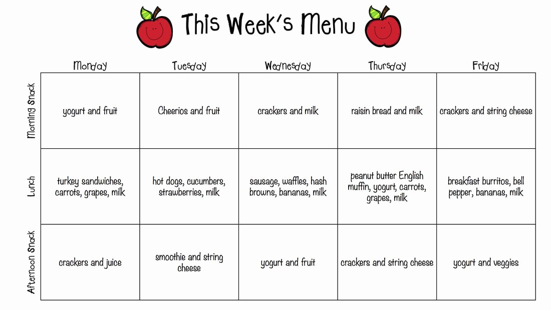 Daycare Monthly Menu Template Inspirational Blog