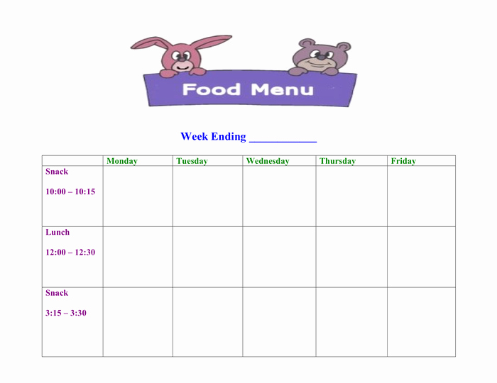 Daycare Monthly Menu Template New Free Printable Daycare Menus