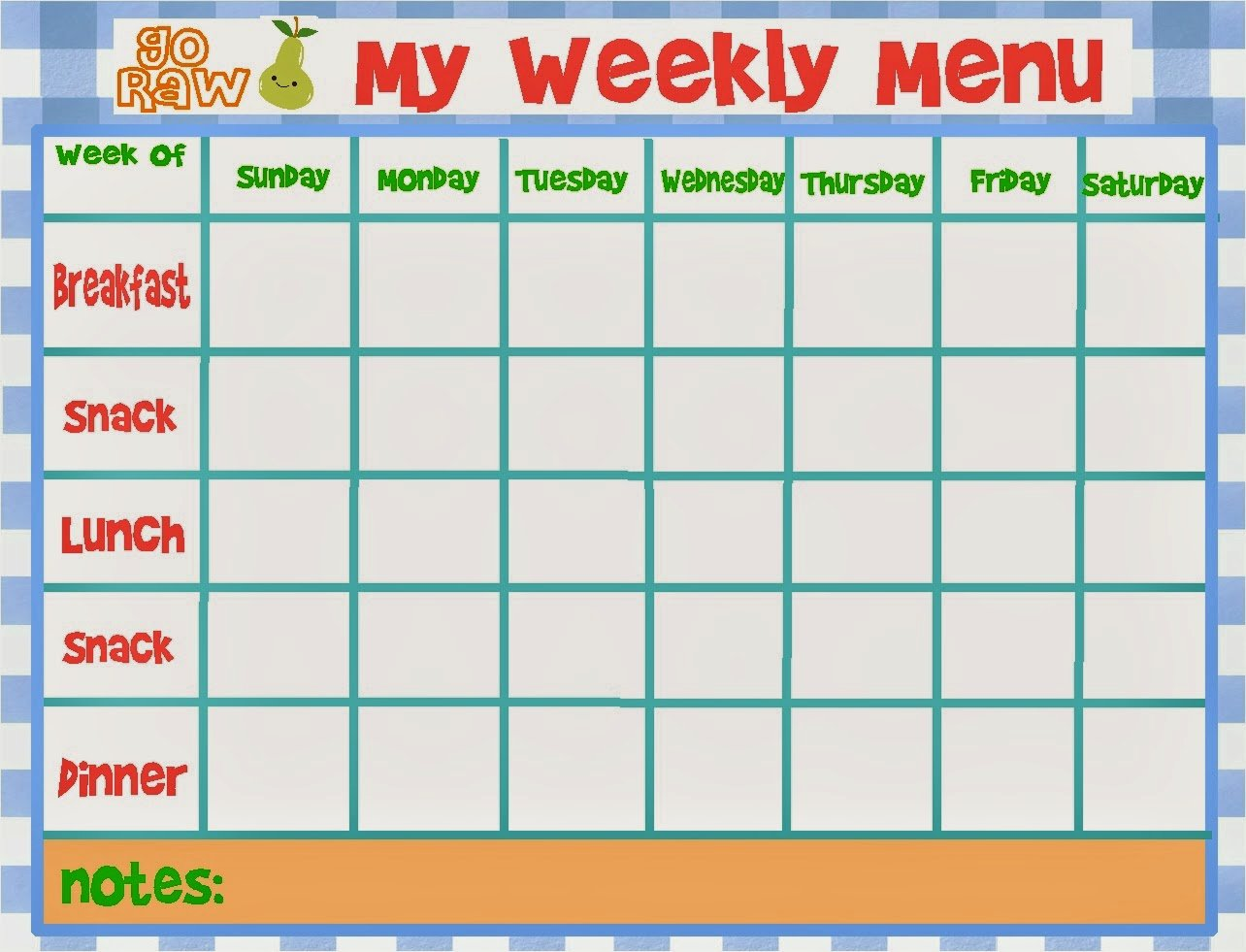Daycare Monthly Menu Template New Gluten Free Jersey Girl 3 Day Raw Food Cleanse