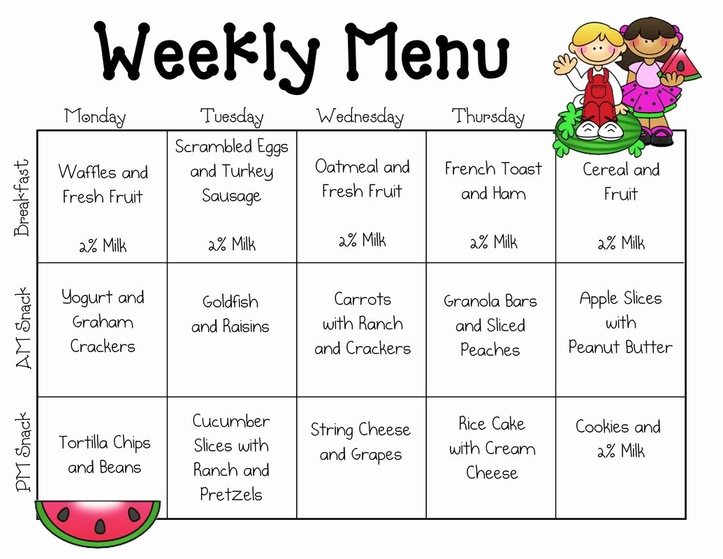 Daycare Monthly Menu Template New Kids Breakfast Menu Calendar