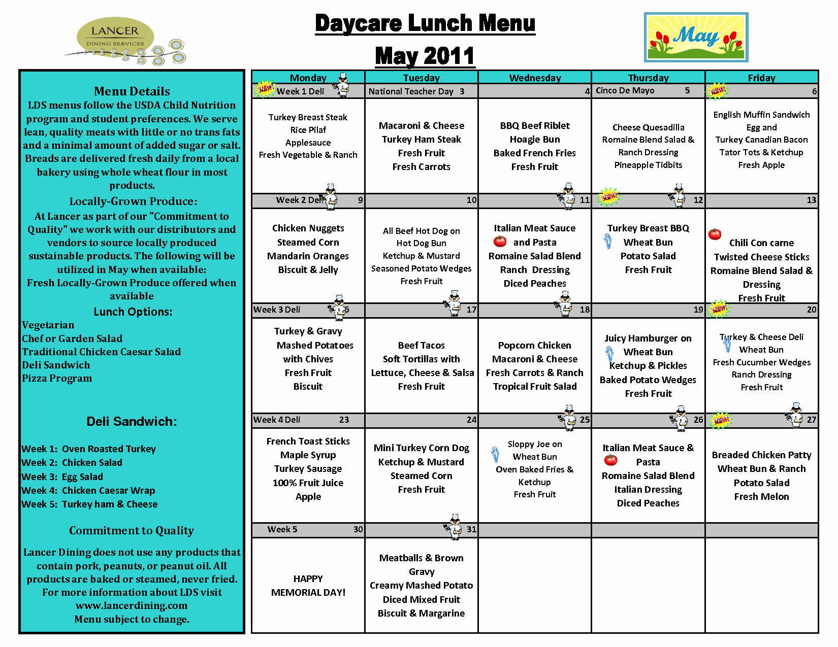Daycare Monthly Menu Template New Weekly Menu Template for Daycare