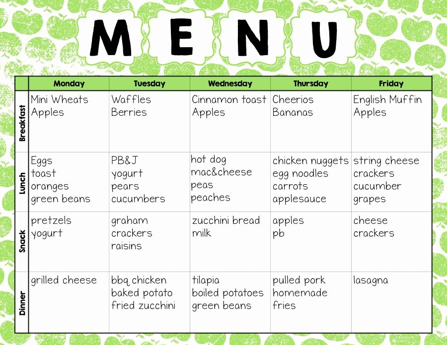 Daycare Monthly Menu Template Unique Make Easy Meal Plans with This Free Weekly Template the