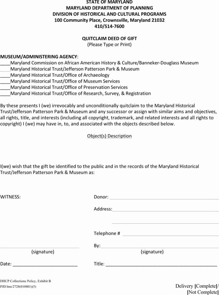 Deed Of Gift Template Beautiful Download Maryland Quitclaim Deed Of Gift for Free