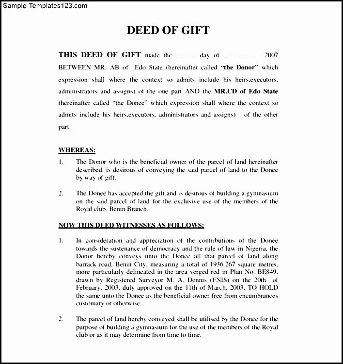Deed Of Gift Template Fresh 20 Of Gift Claim form Template
