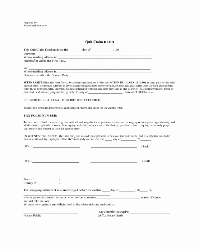Deed Of Gift Template New 2018 Quit Claim Deed form Fillable Printable Pdf