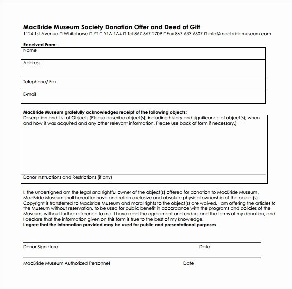 Deed Of Gift Template New Sample Deed Of Gift form 12 Samples Examples format