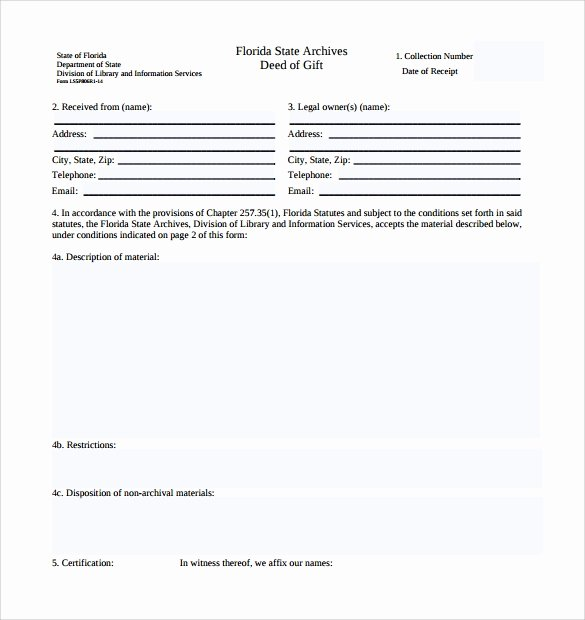 Deed Of Gift Template Unique Sample Deed Of Gift form 12 Samples Examples format