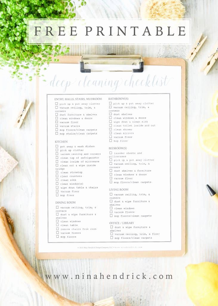 Deep Cleaning Checklist Template Beautiful Free Printable Weekly Menu and Shopping List