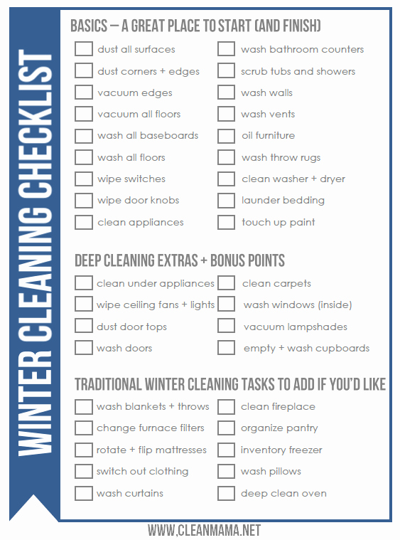 Deep Cleaning Checklist Template Beautiful Free Winter Cleaning Checklist Clean Mama