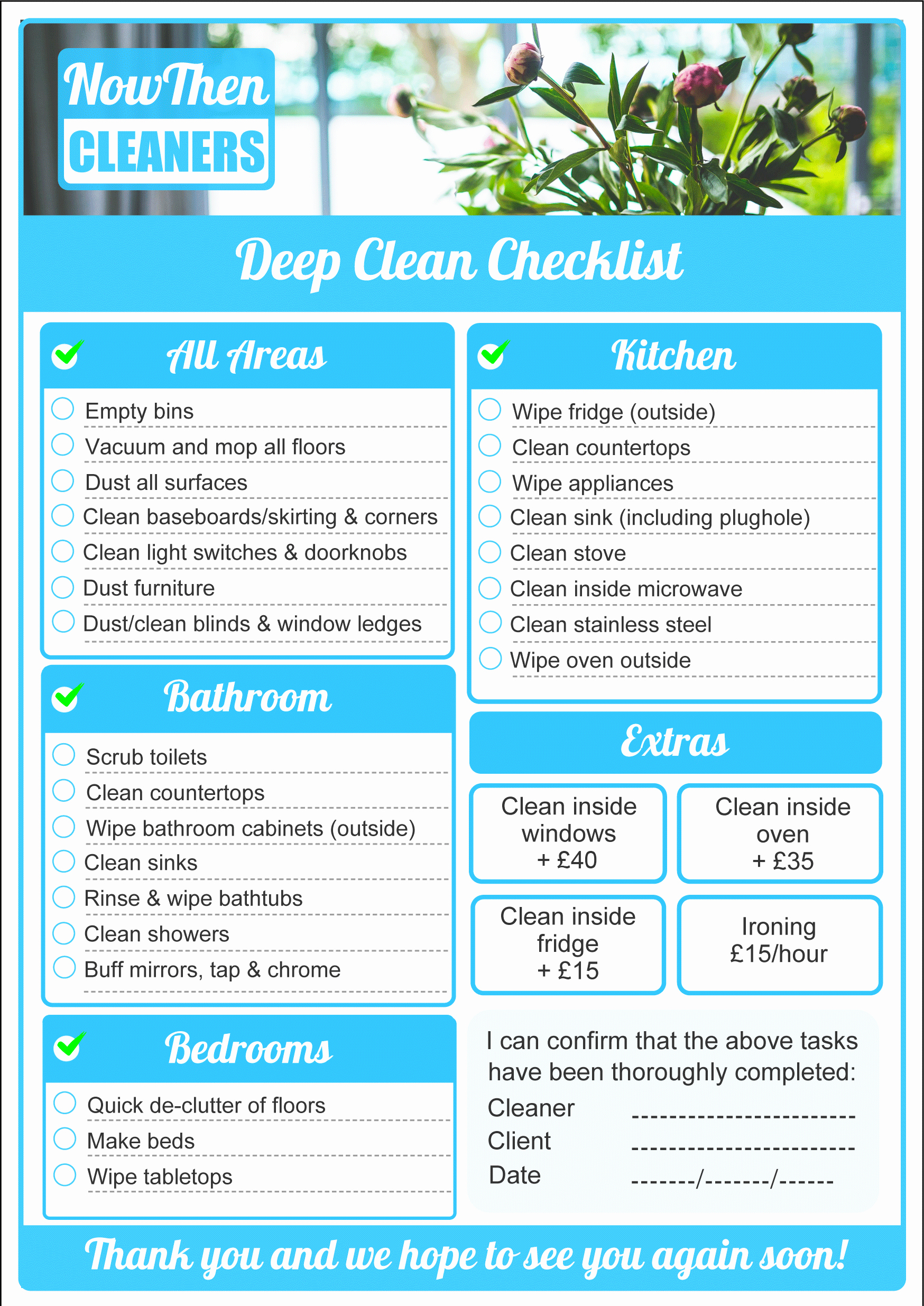 Deep Cleaning Checklist Template Elegant Domestic Cleaners