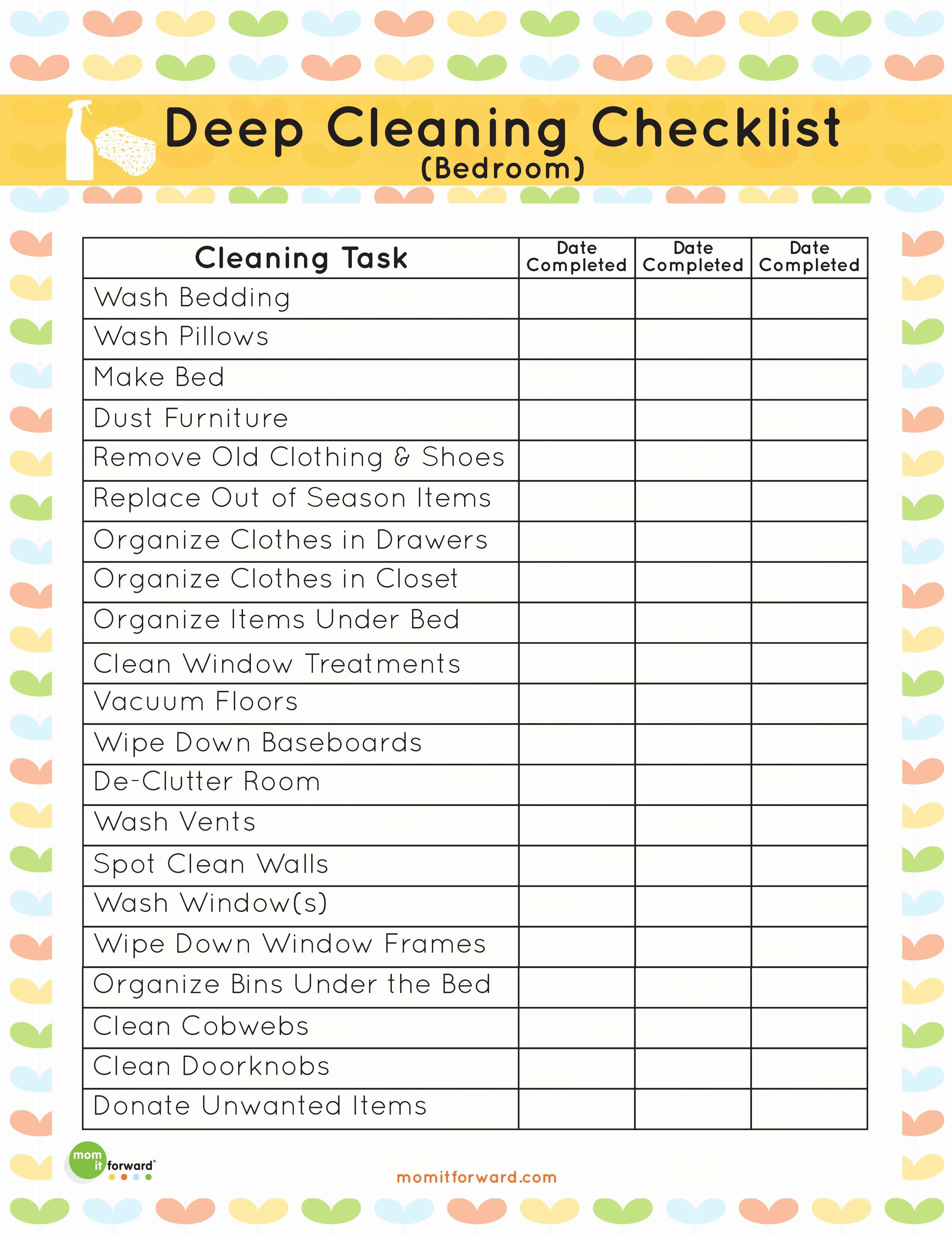 Deep Cleaning Checklist Template Elegant Printable Deep Cleaning Bedroom Checklist Mom It