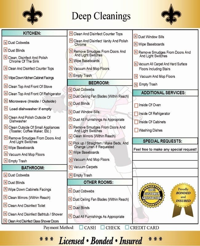 Deep Cleaning Checklist Template Lovely Deep Cleaning Services In New orleans & Metairie