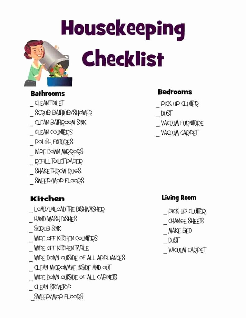 Deep Cleaning Checklist Template Lovely Housekeeping Checklist Clean It Up