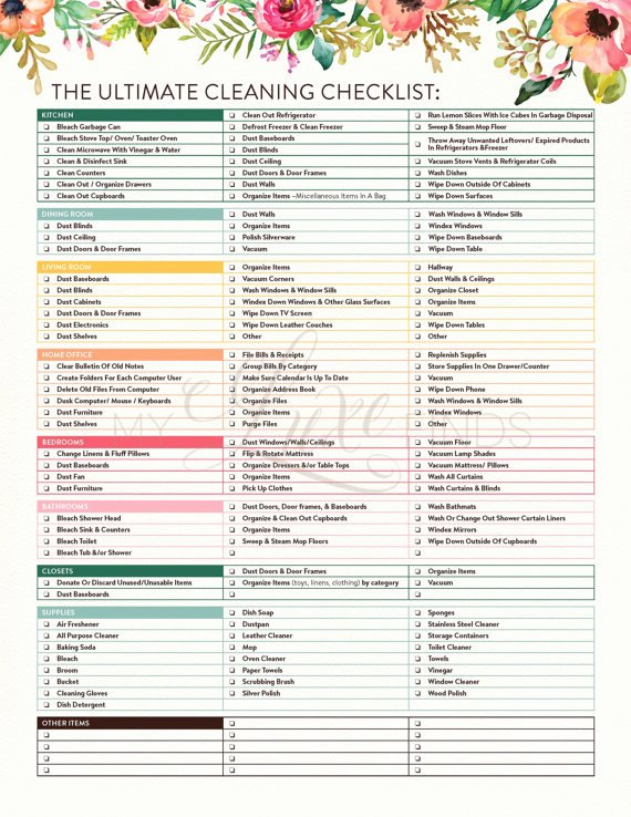 Deep Cleaning Checklist Template Lovely the Ultimate House Cleaning Checklist Printable Pdf