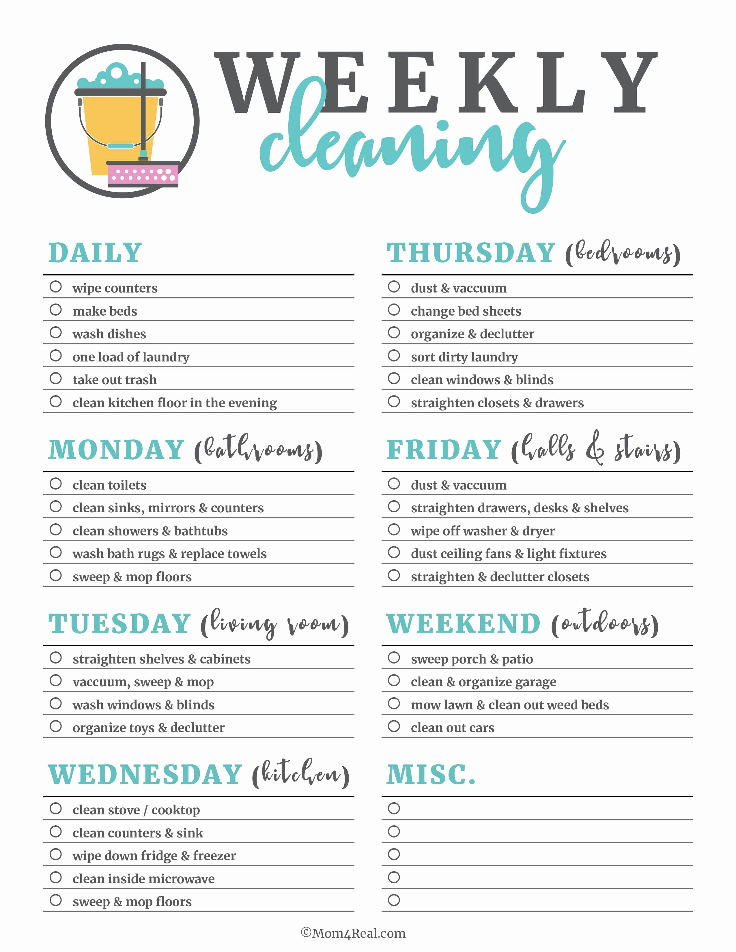 Deep Cleaning Checklist Template Luxury Printable Cleaning Checklists for Daily Weekly and