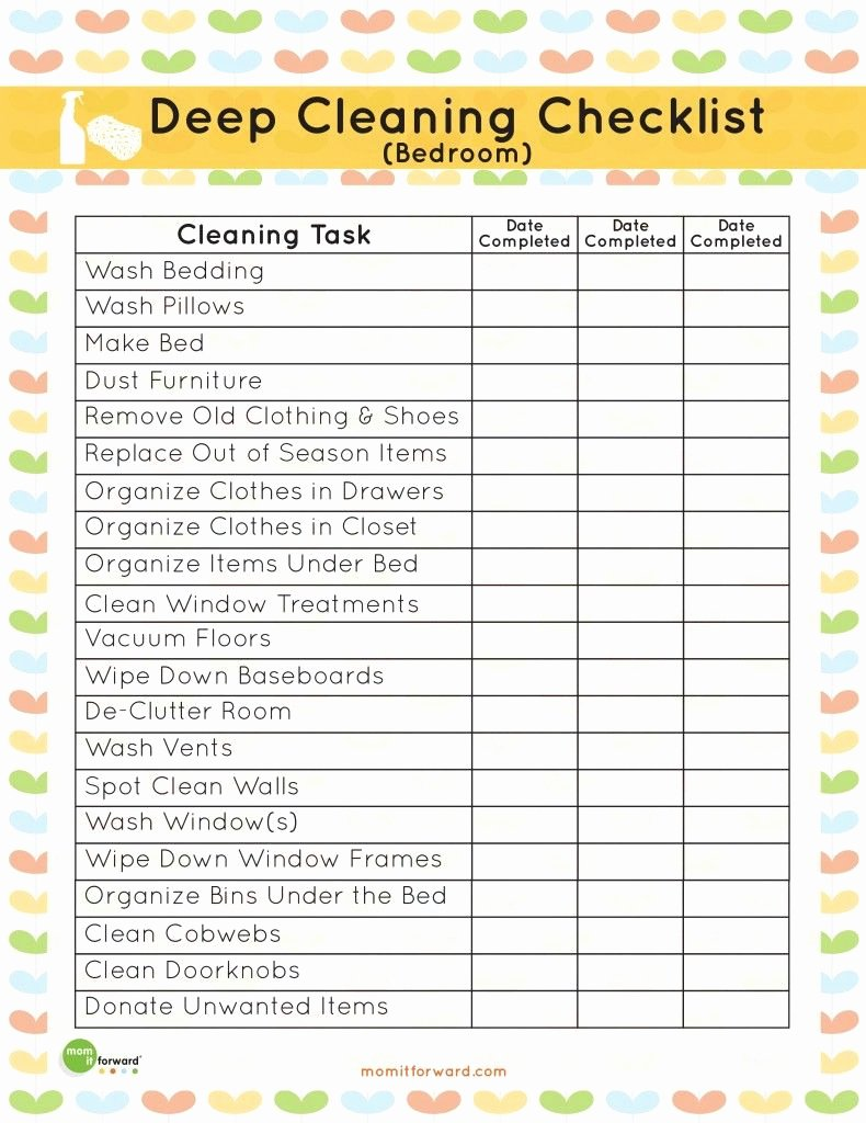 Deep Cleaning Checklist Template Unique It S Easy to Neglect Cleaning the Bedroom when You Re