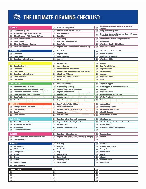 Deep Cleaning Checklist Template Unique the Ultimate House Cleaning Checklist Printable Pdf