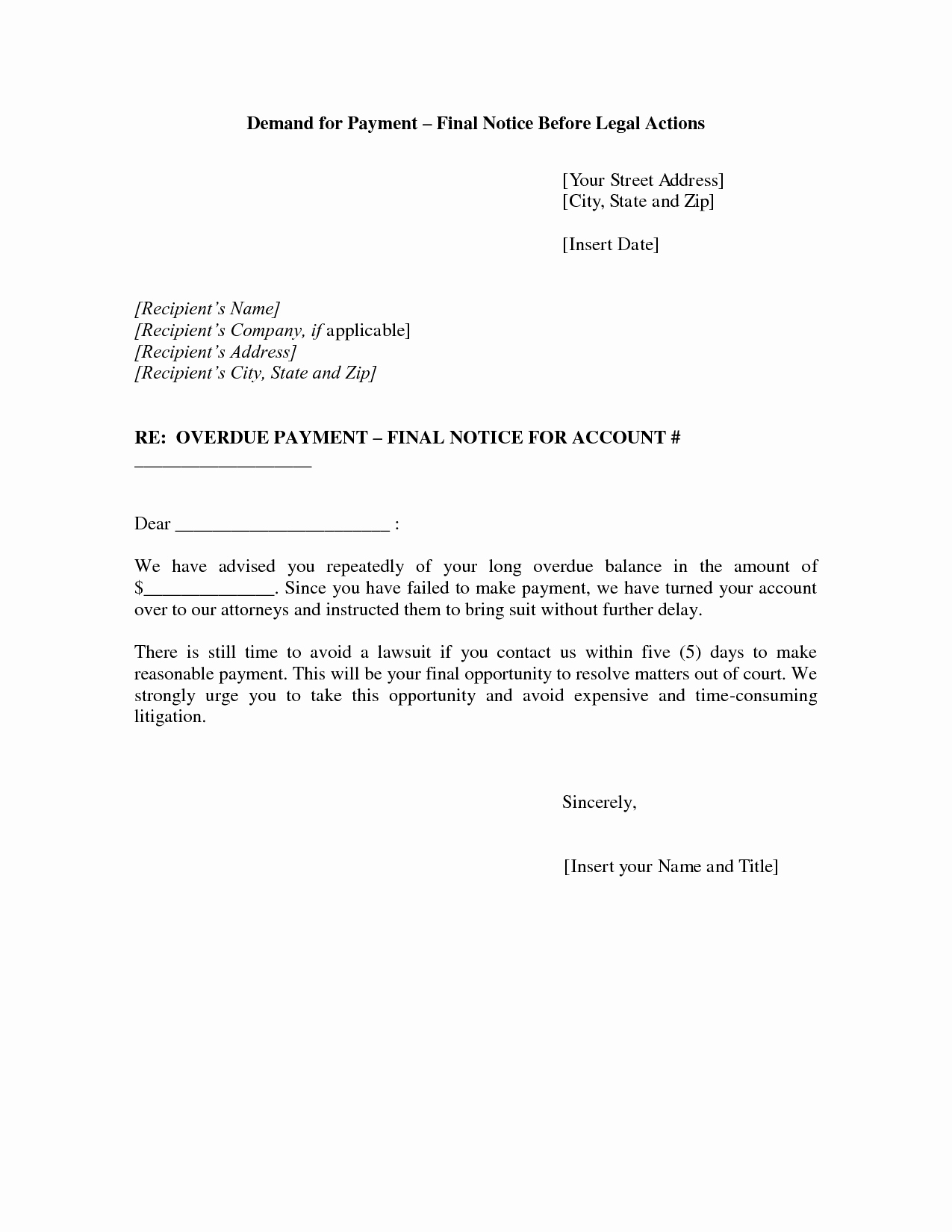 Demand for Payment Letter Template New Best S Of formal Demand for Payment Letter Sample