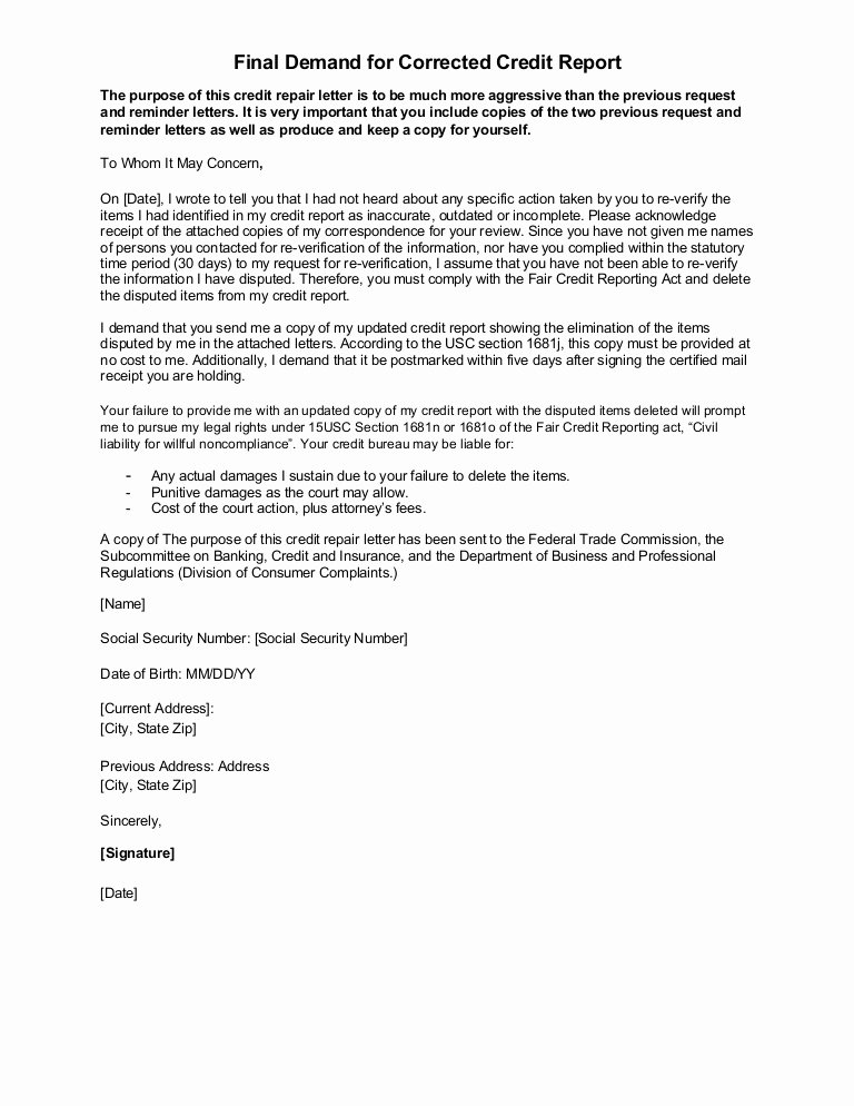 Demand Letter Template Free Lovely Sample Letter Final Demand for Corrected Credit Report