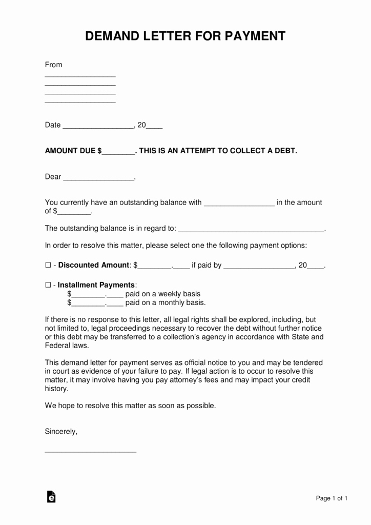 Demand Letter Template Free New Free Demand Letter Templates