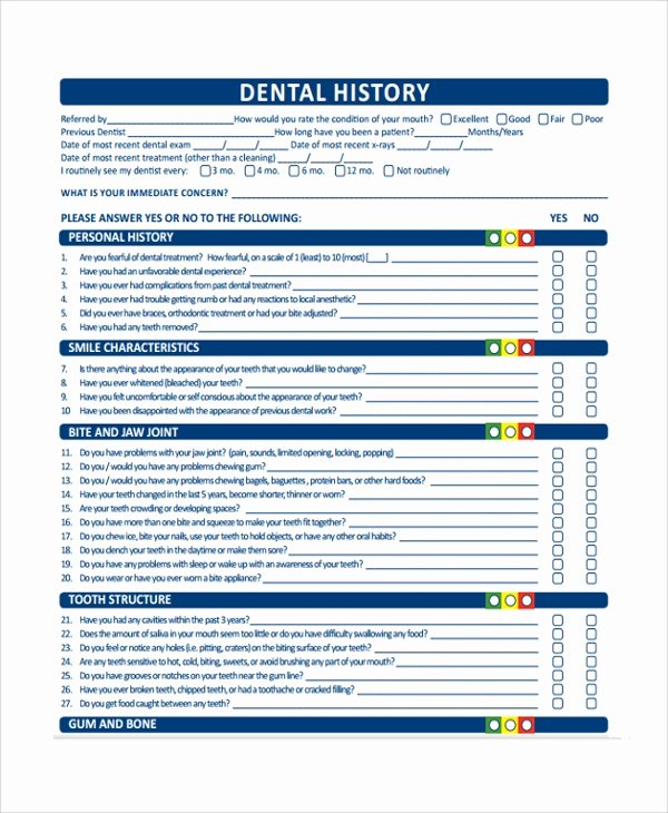 Dental Medical History form Template Lovely Sample Medical History Template 9 Free Documents