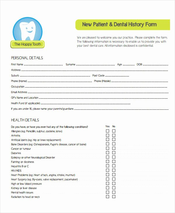 Dental Medical History form Template New Medical History form 9 Free Pdf Documents Download
