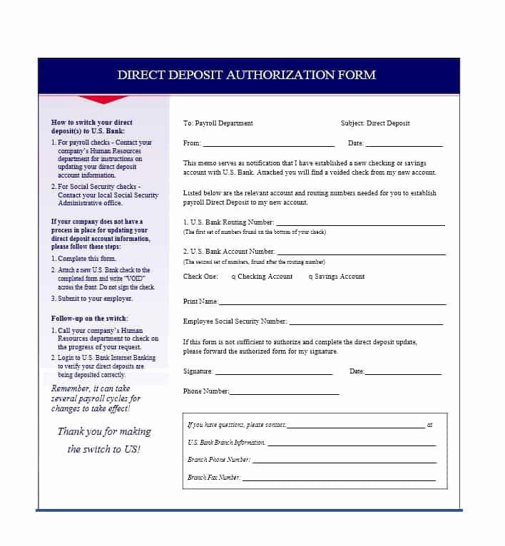 Direct Deposit Authorization form Template Awesome 47 Direct Deposit Authorization form Templates Template