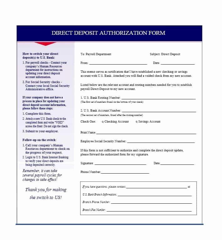 Direct Deposit Authorization form Template Awesome 47 Direct Deposit Authorization form Templates Template