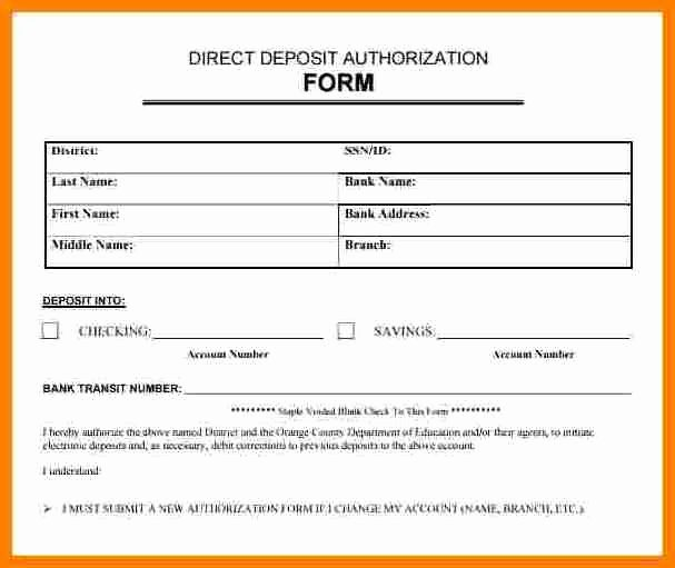 Direct Deposit Authorization form Template Elegant 9 Payroll Direct Deposit Authorization form