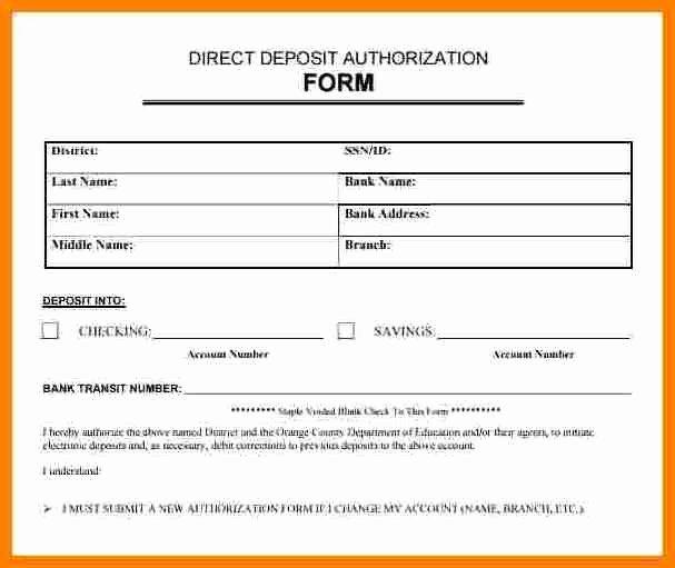 Direct Deposit Authorization form Template Elegant 9 Payroll Direct Deposit Authorization form