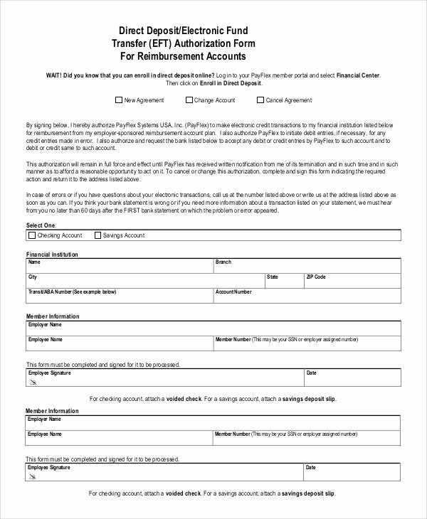 Direct Deposit Authorization form Template Elegant Sample Direct Deposit Authorization form 10 Examples In