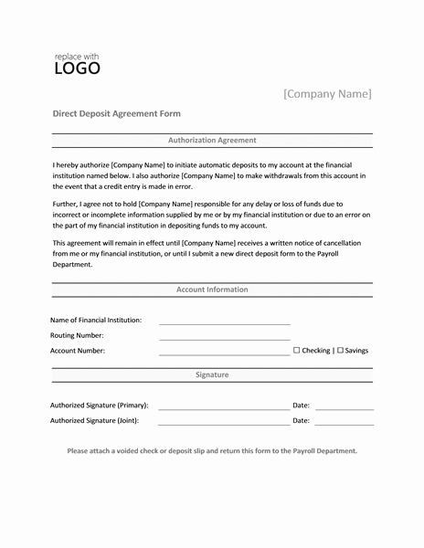 Direct Deposit Authorization form Template Fresh Direct Deposit form Template