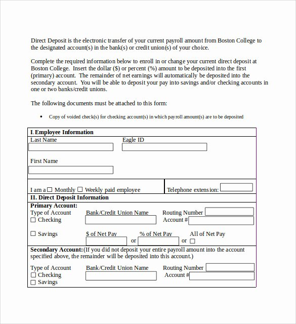 Direct Deposit Authorization form Template Fresh Sample Direct Deposit Authorization form 7 Download