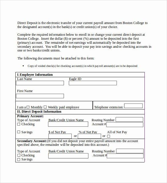 Direct Deposit Authorization form Template Fresh Sample Direct Deposit Authorization form 7 Download