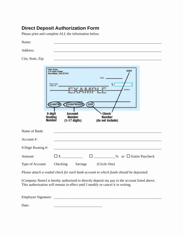 Direct Deposit Authorization form Template Lovely 10 Direct Deposit forms Pdf Doc