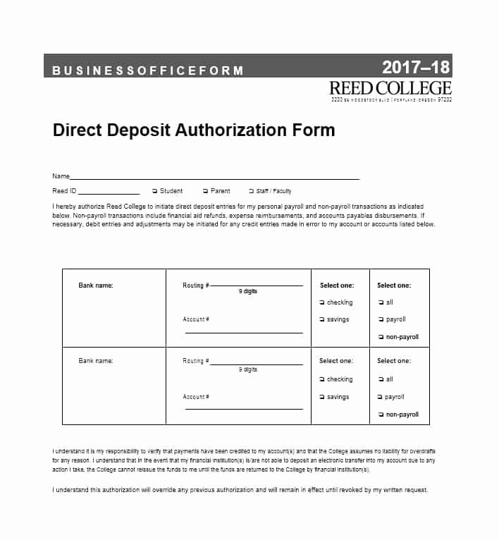 Direct Deposit Authorization form Template Lovely 47 Direct Deposit Authorization form Templates Template